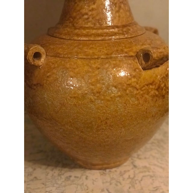 Mid Century Mustard Yellow Pottery Lamp with vintage gold shade.