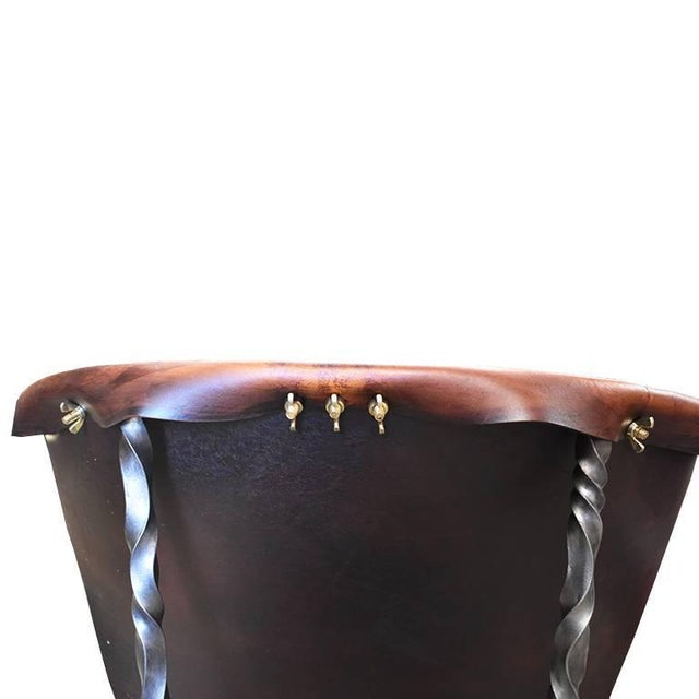 Modern Custom Steel and Leather Hand-Forged Black and Brown Handmade Sling Chairs - a Pair For Sale - Image 3 of 12
