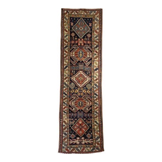 Antique Caucasian Runner Rug - 3′5″ × 12′ For Sale