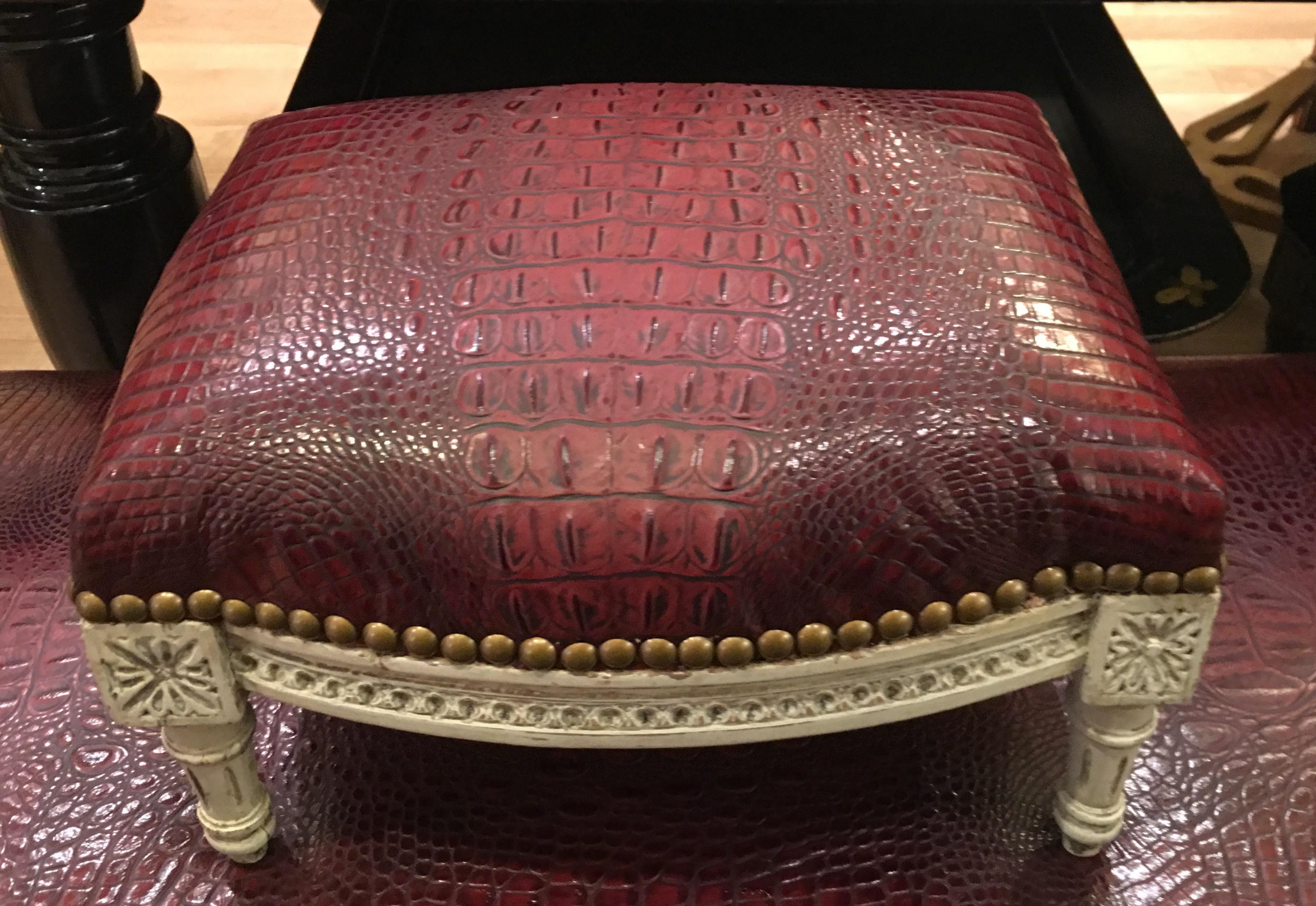 Antique Louis XVI Footstool W Red Alligator Leather   Image 4 Of 5