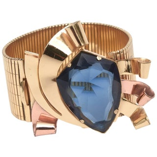 Signed Coro Gold, Copper and Blue Faceted Glass Cuff Bracelet For Sale