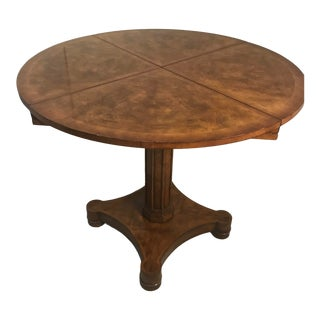 Traditional Theodore Alexander Walnut Burl & Cherry, Tooled Leather Dual Function Game Table For Sale