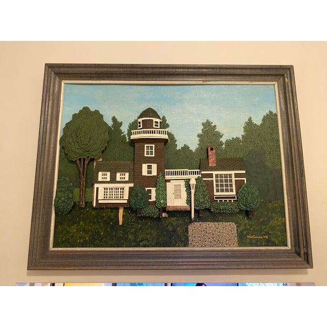 """1970s """"House on Hunting Lane"""" Mixed Media by Mortimer Marshall For Sale In New York - Image 6 of 6"""