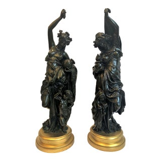 Pair Antique Superb Quality Bronze Figures by Belle Epoque Master Sculptor Albert Ernest Carrier Belleuse, Circa 1865-1885. For Sale