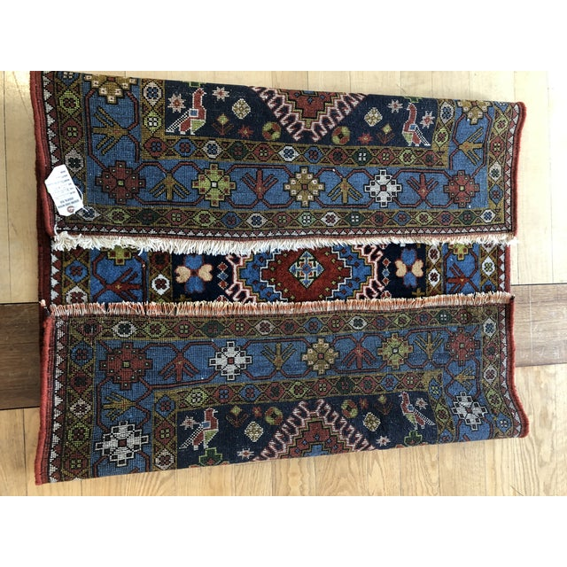 "Navy Blue 1950s Vintage Hand-Knotted Wool Tribal Afshar Rug-3'6""x5'1"" For Sale - Image 8 of 13"