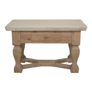 Country Ralph Lauren Stone Top Pine Kitchen Island Table For Sale