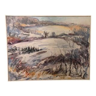 Large Vintage Impressionistic Original Oil on Canvas For Sale