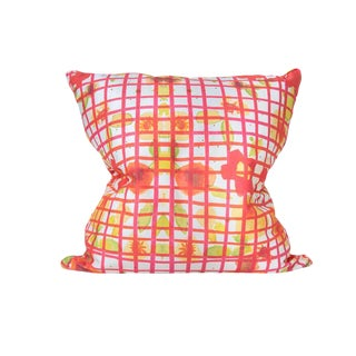 Multi Colored Grid Pillow - 22 X 22 For Sale
