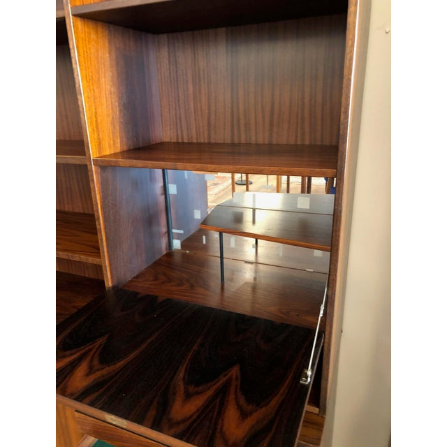 Wood Danish MCM Rosewood 2 Piece Display/Credenza With Drop Leaf Bar For Sale - Image 7 of 13