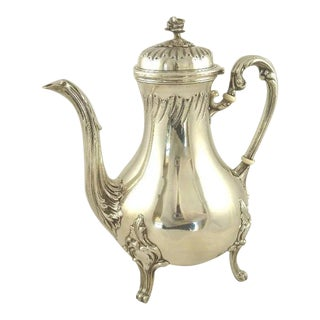 Antique French Sterling Silver Coffee or Tea Pot by Louis Cognet Rococo Louis XV Style 22 Troy Ounces .950 Silver Formal Dining For Sale