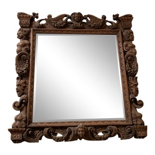 19th Century Antique Carved Frame Mirror For Sale