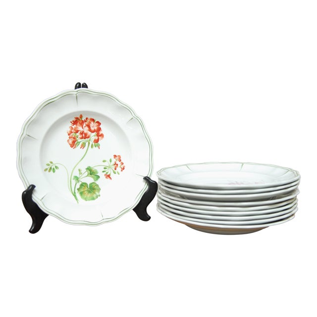 """Set of 66 French Luneville Hand-Painted Floral Dining Plates """"Rovina Epinal"""" For Sale"""