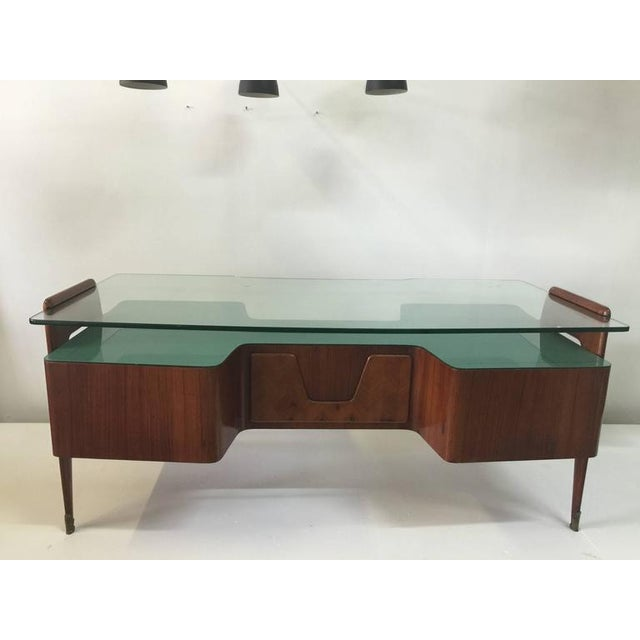 1950s Rosewood Desk by Paolo Buffa with Floating Glass Top For Sale - Image 5 of 9