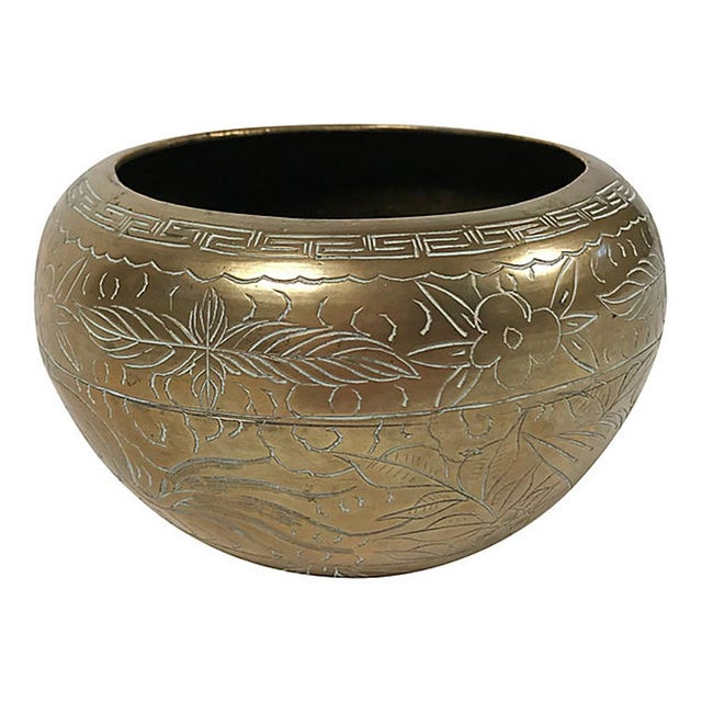 Heavy brass bowl with traditional Asian dragon and floral engravings. We love our brass objects with patina, but feel free...