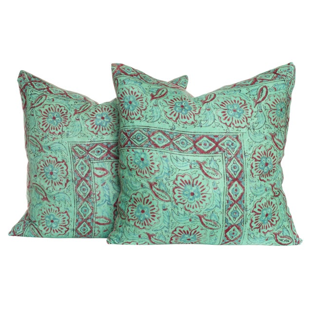 Vintage 1970s Block Print Pillows - A Pair For Sale