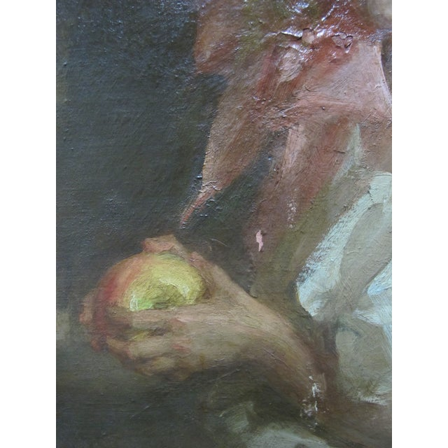 """English Louis Betts Framed Young Girl """"Apple Blossoms"""" Portrait Oil Painting For Sale - Image 3 of 13"""