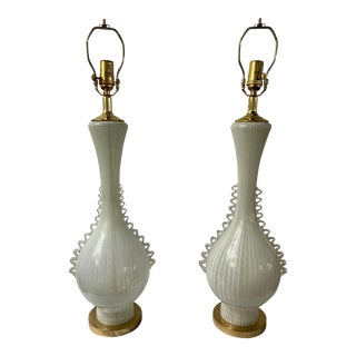 Mid-Century Murano Ribbon Glass Table Lamps - a Pair For Sale