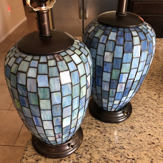 Maitland - Smith Arts and Crafts Geometric Blue Stained Glass Lamps - a Pair For Sale - Image 4 of 13