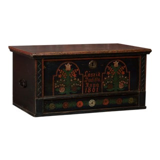 19th Century Folk Art Painted Trunk From Hungary For Sale