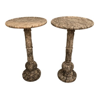 Marble Round Plant Stands / Side Tables - a Pair For Sale