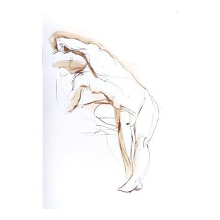 """Framed Original Brown Ink Figure Drawing """"Torso Gesture Stretch"""" by Michelle Arnold Paine For Sale"""