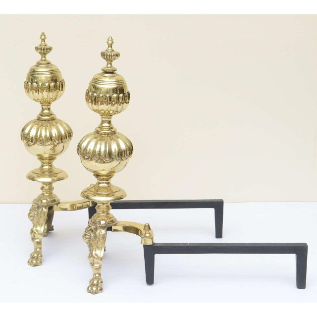 Metal Large Georgian Style Andirons - a Pair For Sale - Image 7 of 10