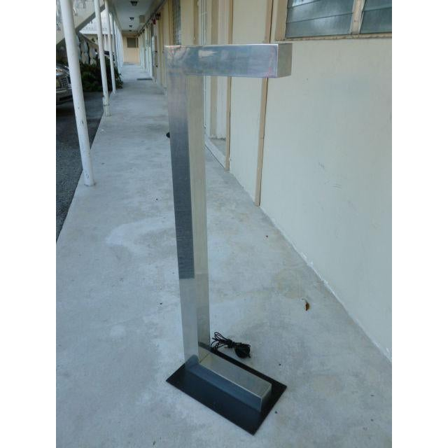 Mid-Century Modern 1970's Vintage Architectural Chromed Aluminum Floor Lamp For Sale - Image 3 of 7