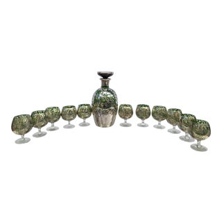 Emerald Green and Silver Decanter With Glasses - 13 Piece Set For Sale