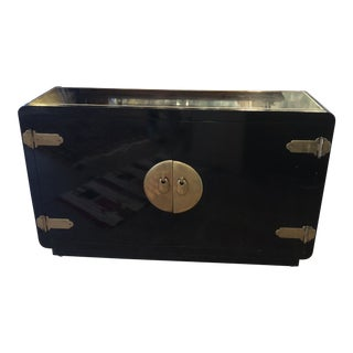 Black Lacquer Mastercraft Console Cabinet For Sale