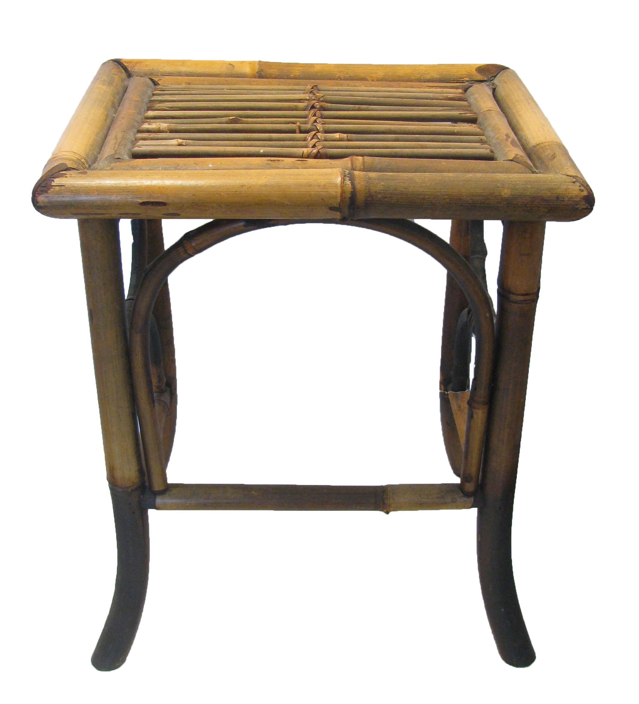 Asian Vintage Scorched Bamboo Accent Table For Sale   Image 3 Of 6