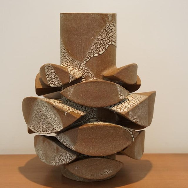 Contemporary Contemporary White Crackle Totem Medium Vase by Titia Estes For Sale - Image 3 of 6