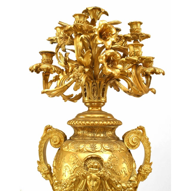 Mid 19th Century Pair of French Victorian Bronze Doré Urn Shaped Candelabra For Sale - Image 5 of 13