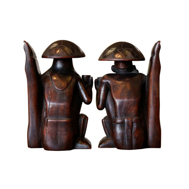 Traditional Carved Figural Book Ends - a Pair For Sale - Image 4 of 9