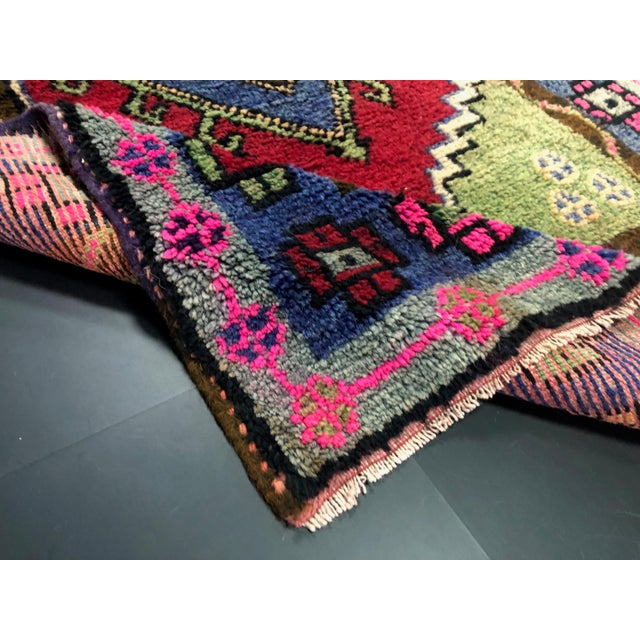 Traditional Anatolian Aztec Antique Blue Green Pink and Red Turkish Oushak Rug For Sale - Image 4 of 12