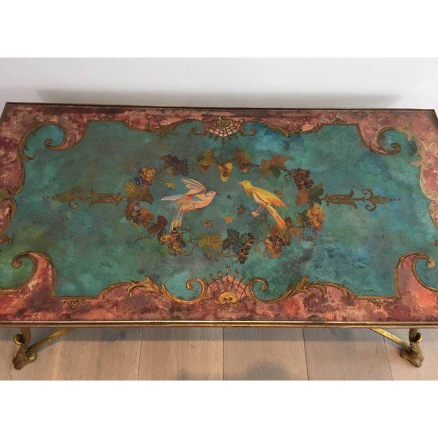 Neoclassical Coffee Table With Gilt Base and Reverse Painted Mirror Top - Image 6 of 11