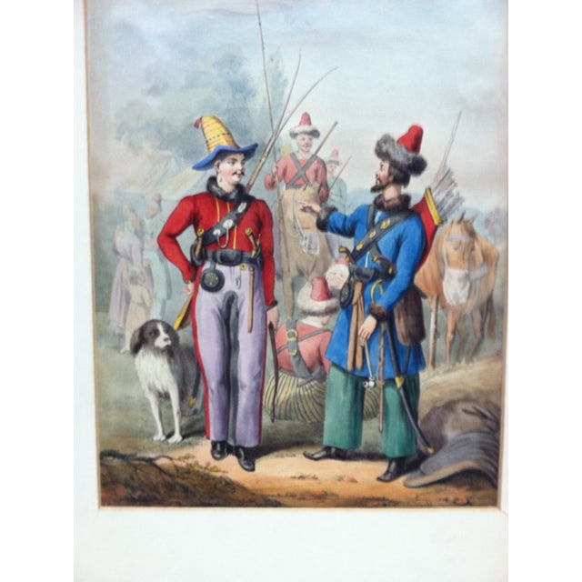 """Country Mid 19th Century Antique """"2 Soldiers Meet"""" Hand-Colored Matted Print For Sale - Image 3 of 5"""