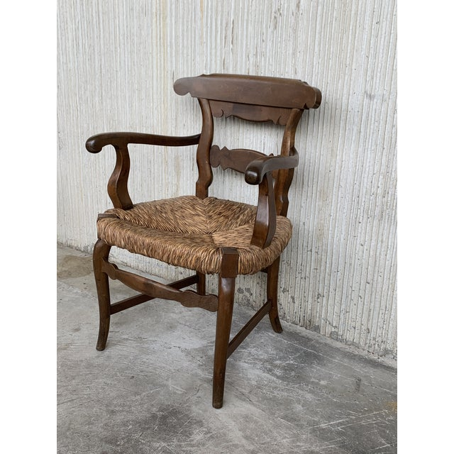 Straw 19th Century Set of Six Armchairs With Straw Seat. Dining Room Chairs For Sale - Image 7 of 13
