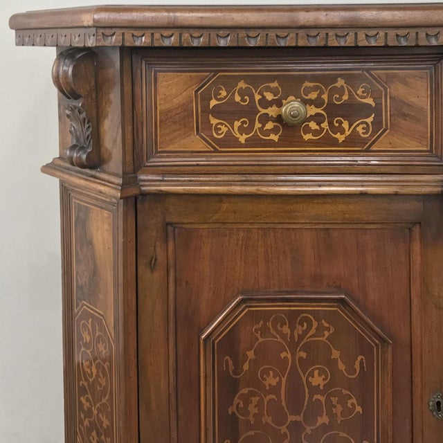 Antique Italian Baroque Inlaid Walnut Buffet For Sale - Image 12 of 13