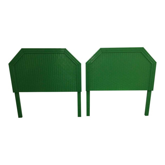 Lacquered Kelly Green Faux Bamboo Twin Headboards - a Pair For Sale