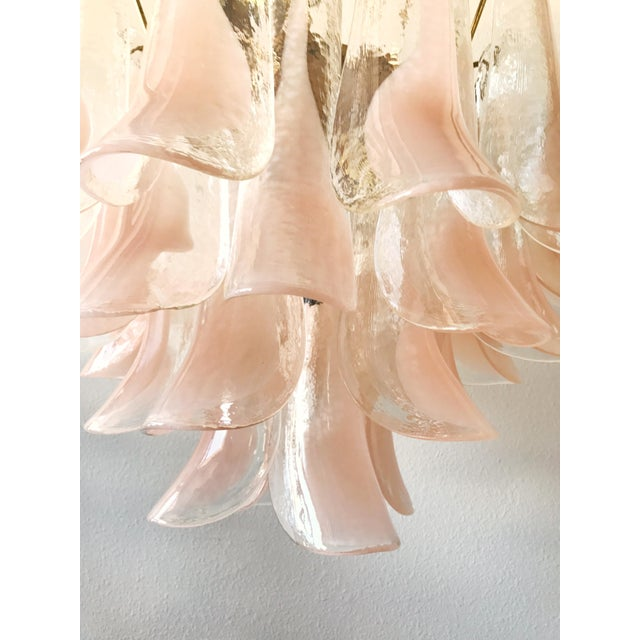 Asian 1960s Boho Chic Mazzega Brass and Pink Murano Glass Petal Chandelier For Sale - Image 3 of 9