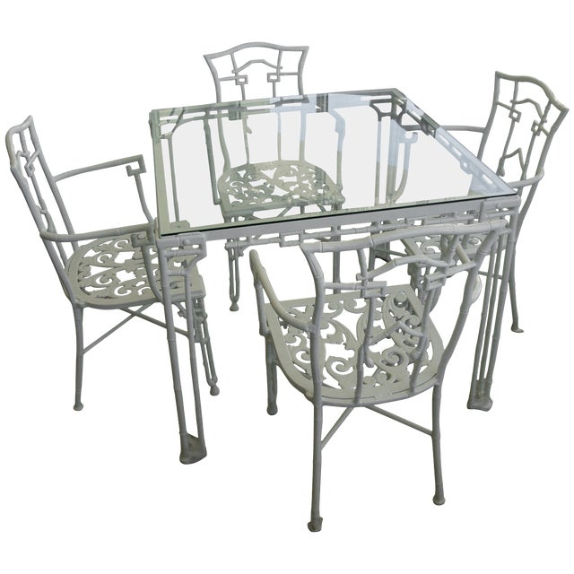 Faux Bamboo Cast Aluminum White Table and Chairs Five-Piece Patio Set For Sale