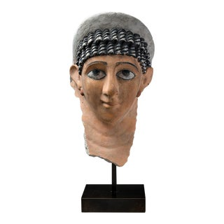 Roman Period Stucco Funerary Mask of a Woman For Sale