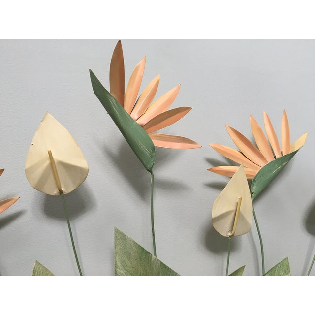 Contemporary Mid Century Modern Bird of Paradise Flower Tole Wall Sculpture For Sale - Image 3 of 7