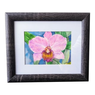"""""""Orchid Flower"""" Contemporary Botanical Watercolor Painting, Framed For Sale"""