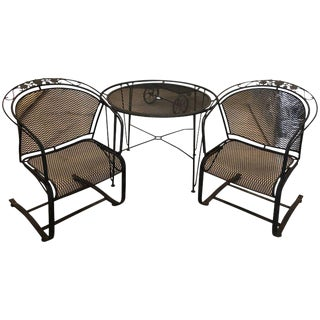 S/3 Mid-Century Modern Russell Woodard Wrought Iron Table & Two Rocker Armchairs