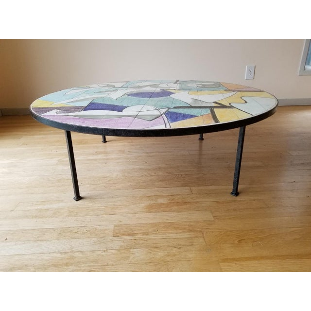 Metal Mid 20th Century Ceramic Tile Coffee Table For Sale - Image 7 of 9