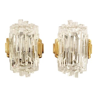 1970s French Ice Crystal Wall Lights - a Pair For Sale