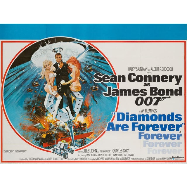 We love McGinnis' artwork on this wonderful country-of-original UK Quad forJames Bond's Diamonds Are Forever starring Sean...