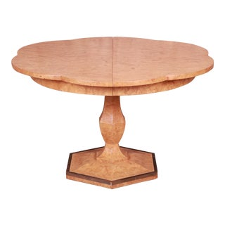 Mastercraft Mid-Century Hollywood Regency Burl Wood and Brass Extension Pedestal Dining Table, Newly Restored For Sale