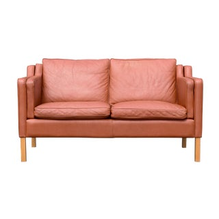 Børge Mogensen-Style Danish Leather 2-Seat Sofa by Stouby